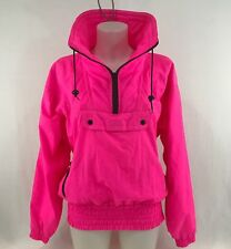 Vintage Outrageous Neon Pink Jacket Size Medium 80s 90s Puffy Windbreaker