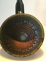 Vintage Bill Campbell Stoneware Studio Art Signed Blues & Browns, A-357(c)