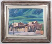 Vintage Howard Carr Indian village landscape abstract expressionism oil painting