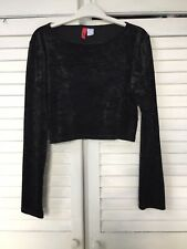 "Crushed Black Velvet Crop Top Size Teen L - 28-32"" chest - stretchy"
