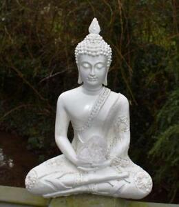 Large Shabby Chic Meditation Buddha With Natural Unique Clear Quartz Crystal