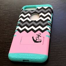 For iPhone 7+ Plus - HYBRID HARD & SOFT ARMOR CASE PINK MINT BLUE CHEVRON ANCHOR