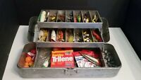 Vintage Fold A Tray (Before UMCO) Tackle Box Lot Jitterbug Heddon Sonic Thinfin