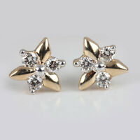 Natural Diamond Pave Solid 14 K Yellow Gold Stud Earrings Fine Handmade Jewelry
