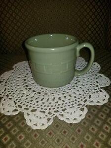 Longaberger Pottery Woven Traditions Souper Mug Sage Green~ 16 oz COFFEE MUG~USA