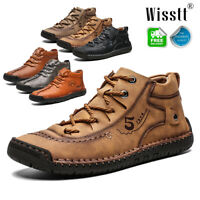 Men's Hand Stitching Casual Leather High Top Shoes Loafers Ankle Boots Sneakers