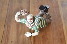Gilde Clown liegend Oldie Hut 12cm x 11cm x 18,5cm grün braun