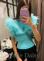 ZARA NEW TURQUOISE GREEN KNITTED TOP TULLE SHORT SLEEVES PUFF SIZE S/M/L