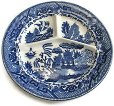 "Antique Moriyama Blue Willow Grill Plate Occupied Japan 10.125"" Sectional"