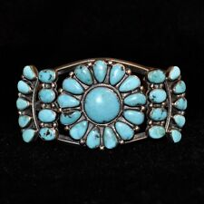 "Sterling Silver & Turquoise Navajo Cluster Bracelet, Old Pawn/Estate 1.75""W"