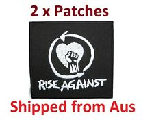 """2x RISE AGAINST Logo Iron On Sew Punk Rock Embroidered Patch 3""""/7.5cm x 2.9""""/7cm"""