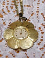 """Gold Tone Brushed 12"""" Drop Vintage Saxony Necklace Flower Petal"""