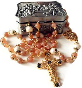 Wrapped Orange Moonstone & Real Pearl Beads Rosary Necklace cross box Catholic