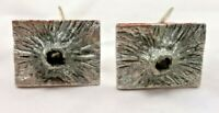 Mens Vintage Denmark Pewter Cuff Links Cufflinks Rectangle Volcano Jewelry 7465F