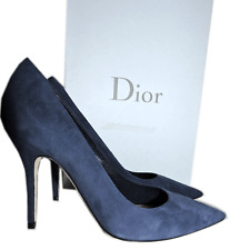 Christian Dior Cherie Pointy Toe Navy Blue Suede Pump Shoes  39 - 8.5