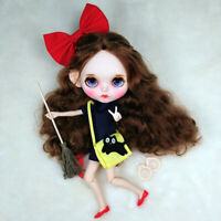 """12"""" Neo Blythe Doll From Factory Brown Long Hair Make-up Eyebrow Sleeping Eyes"""