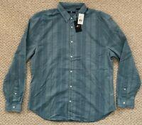 NWT 7 For All Mankind Mens Long Sleeve Button Up Stripe Sport Shirt Blue 2XL XXL