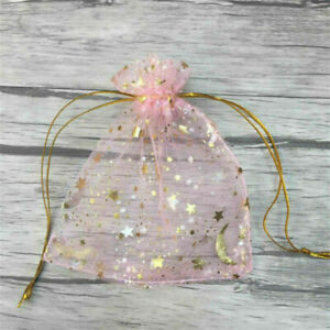 30pcs Moon Star Organza Favor Gift Bags Wedding Jewelry Drawstring Party Pouches