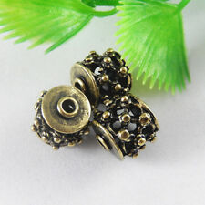 10 Pieces Retro Bronze Copper Round Beads Charms For Necklace Pendants Making