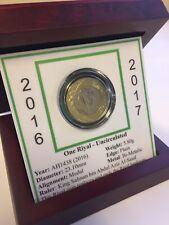 Saudi Arabia AH1438 - 2016/2017 UNC One Riyal (KM#78) Coin in Rosewood Box