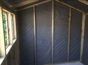 WOODEN SUMMER HOUSE 10X8' DOUBLE DOORS TONGUE GROOVE SHED W/ BREATHABLE MEMBRANE