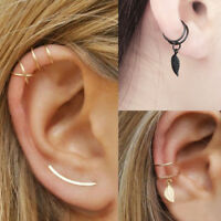 1X Women Girl Wrap No Piercing Earring Cuff Cartilage Ear Stud Clip On Earring