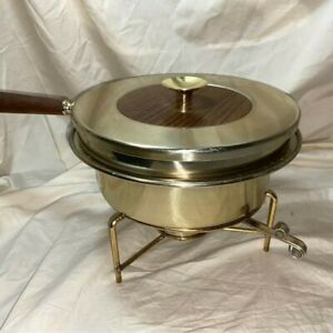 MCM Vintage Dura Brass Buehner-Wanner Chafing Dish with rare wood grain top
