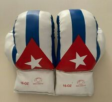 Boxing Gloves 16 oz - Leather - White, Blue, Red