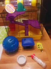 Hamster cage, see saw, ball, feeding accessories etc
