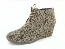 TOMS Boots Desert Suede Tan/Black ANIMAL Ankle Wedge Bootie US 12 EU 43.5 $119
