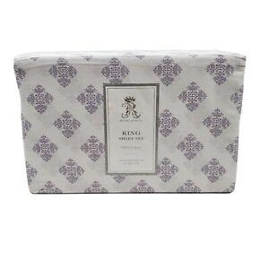 Rachel Ashwell King Sheet Set 4 Piece Pretty Medallion White Lavender Cloud