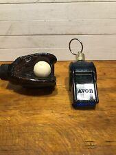 New listing Lot Of 2 Vintage Avon Perfume Bottles Whistle ( Full) Baseball Glove W/ball