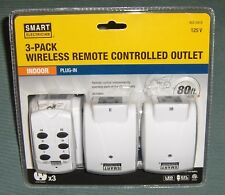 WIRELESS REMOTE CONTROLLED OUTLET - 3 PACK -INDOOR- LED / CFL Compatable   NEW !