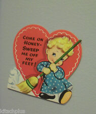 Vtg Valentine Card 50's Child Broom Sweep Me Off My Feet UNUSED
