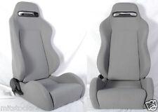 NEW 2 GRAY CLOTH RACING SEATS RECLINABLE w/ SLIDER ALL HONDA