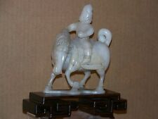 Chinese Hand Carved Statue White Jade Sculpture Soldier on Horse