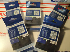 5 BROTHER COMPATIBLE BLACK INK ON WHITE LABEL TAPE  TZ 231 TZe 231 26.2ft