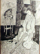 American School Ink Drawing of Woman Undressing Early 1900's  Seductive Quality