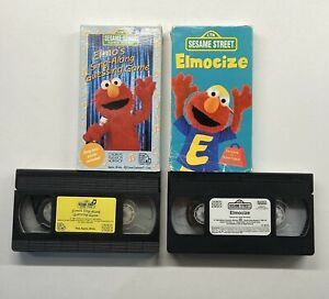 Sesame Street Elmo's Sing-Along Guessing Game & Elmocize VHS Lot HTF!! VHS Only