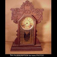 Antique E. Ingraham Oak Gingerbread / Kitchen / Parlor Mantle Clock Boston No 5