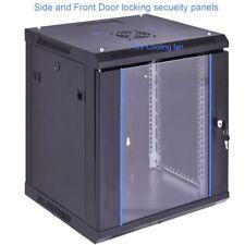 Network Server Data Equipment Cabinet Wallmount Rack Enclosure Glass Door Fan