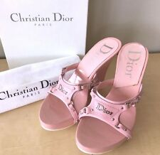 CHRISTIAN DIOR BABY PINK LEATHER WOOD WEDGE SANDAL SLIDES SHOES 37.5 US 7 W/BOX