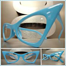 CLASSIC VINTAGE RETRO CAT EYE Style Clear Lens EYE GLASSES Blue Fashion Frame