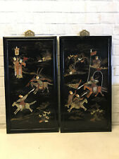 Antique Chinese Pair Stone Inlaid Wood Panels Figures on Horses Fighting Warring