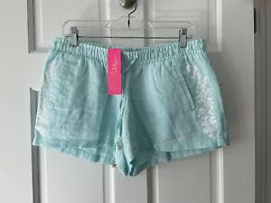 NWT Lilly Pulitzer linen shorts, whisper blue, M, $88