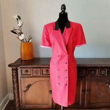 Vintage ESCADA Margaretha Ley Dress Red And Pink Double Breasted Wool Size 42