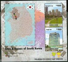 SIERRA LEONE  2014 SITE & SCENES OF SOUTH KOREA SOUVENIR SHEET II  MINT NH