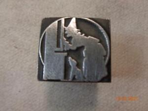 Printing Letterpress Printer Block Halloween Witch & Dog Print Cut