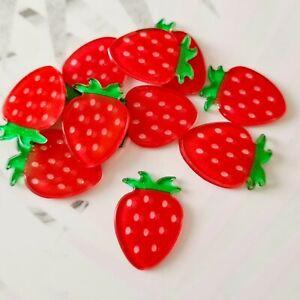 Pack of 10 Glitter Strawberry Flatbacks, Resins for Bow Making, Embellishments