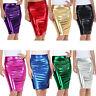 Womens PVC Wet Look Metallic Pencil Midi Skirts Ladies High Waist Leotard Top